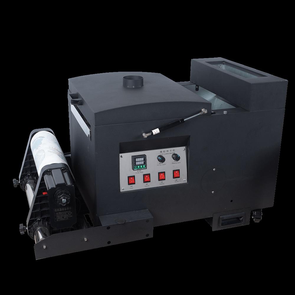 DTF數位直噴膠膜捲式自動上粉機 抖粉機 自動收紙及加熱 適用寬33公分膠膜以下